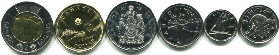 Canada 2015 6 coin set: 5 cents - 2 Dollars