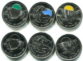 Canada 2012 Legendary Nature color and plain 25 cents
