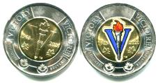 Canada 2 Dollars 2020 75th Anniversary of World War II Victory, regular and colored versions