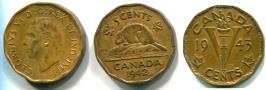 Canada 5 Cents 1942 KM39 Beaver  and 1943 KM40 Victory