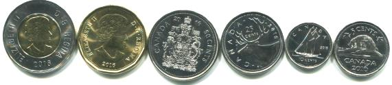 Canada 2016 6 coin set: 5 cents - 2 Dollars