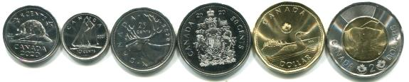 Canada 2020 six coin set, 5 cents - 2 Dollars