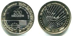 Cape Verde 200 Escudos bi-metallic coin, 200 Years of Friendship with United States