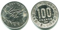 CENTRAL AFRICAN REPUBLIC 100 FRANCS 1990 KM7