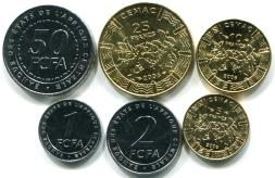 Central African States 6 coin set: 1 to 50 CFA Francs, 2006