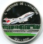 Chad silver 1000 Francs History of Aviation: Boeing 747