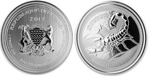 Chad silver 500 Francs coin, 2017 Deathstalker Scorpion