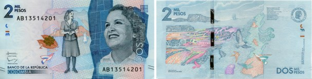 Colombia 2000 Pesos 2016 banknote