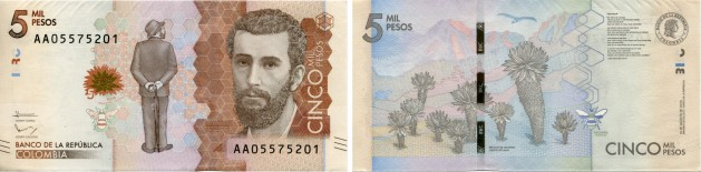 Colombia 5000 Pesos 2016 banknote