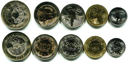 Colombia 5 coin set: 5 - 1000 Pesos, 2012