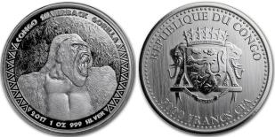 Republic of the Congo 5000 Francs 2017 Gorilla 1 troy ounce .999 silver coin