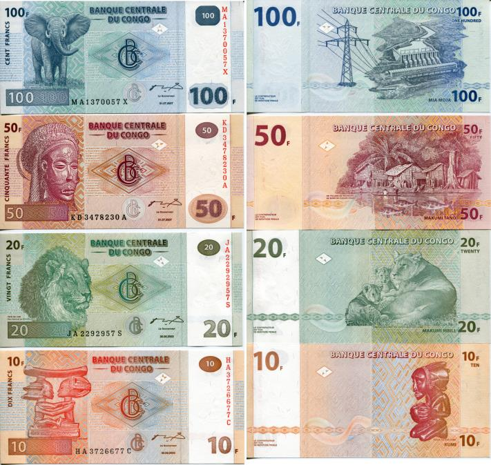 Congo Democratic Republic banknote set: 10 to 100 Francs