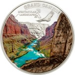Cook Islands sterling silver Grand Canyon multi-colored coin with marble inlay