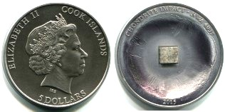 Cook Islands 5 Dollars 2015 silver coin with piece of Chondrite Meteorite NWA 4037