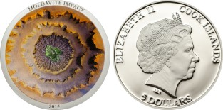 Cook Islands 5 Dollars Moldavite Impact multi-color coin