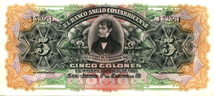 Banco Anglo-Costarricense 5 Colon banknote