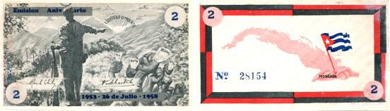 Cuba - Revolutionary currency: 2 Pesos 1958 5th Anniversary of Moncada Army Barracks attack banknote