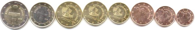 Cyprus 8 coin euro set: 1 eurocent - 2 Euros