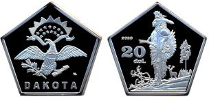 Dakota 20 Dollars 2020 coin depicting American Indians