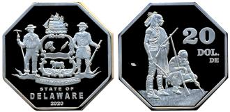 Delaware 20 Dollars 2020 coin depicting American Indians