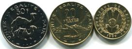 Djibouti 3 coin set: 10, 20 and 50 Francs 1999