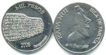 Easter Island 1000 Peso coin 2008