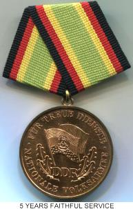 German Democratic Republic (DDR) National People's Army Bronze 5 Years of Faithful Service Medal