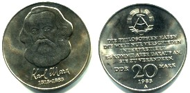 East Germany 20 Mark 1983 100th anniversary of death of Karl Marx KM93