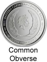 Common obverse for the East Cariibbean silver 2 Dollar coins
