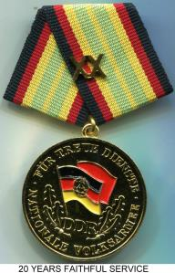 German Democratic Republic (DDR) National People's Army Bronze 20 Years of Faithful Service Medal
