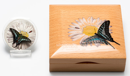 Equatorial Guinea 3-D butterfly coin and box