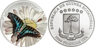 3-D Butterfly coin from Equatorial Guinea