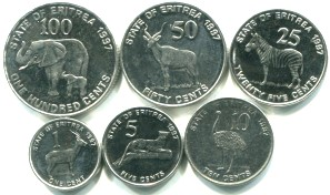 Eritrea 6 coin set: 1, 5, 10, 25, 50 and 100 Cents 1997