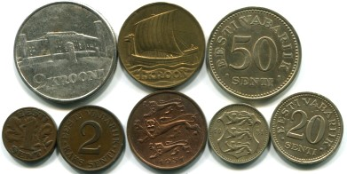 Estonia pre-World War II 8 coin set: 1 Senti - 2 Krooni, 1929-1936