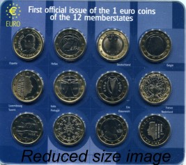 Set of 1 Euro coins from the 12 original Euro members