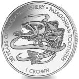 Falkland Islands 1 Crown 30 years of fisheries, Patagonian Toothfish copper-nickel coin