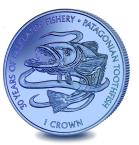 Falkland Islands 1 Crown 30 years of fisheries, Patagonian Toothfish titanium coin