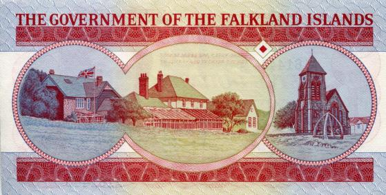 Back of Falklands 5 Pounds note depicts Governor's home and Christ Church Cathedral