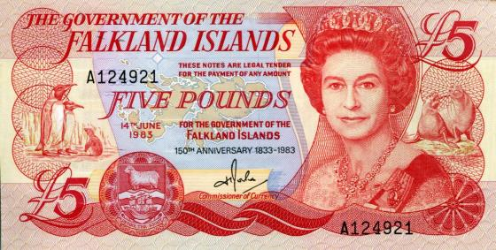 Falklands 5 Pound note 1983 features Queen Elizabeth, penguins and seals