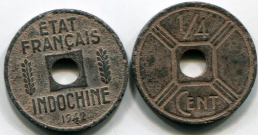 French Indo China 1 4 Cent 1942 Osaka Mint Km25