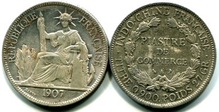 French Indo-China silver 1 Piastre (KM5a.1)