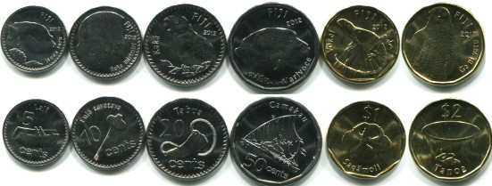 Fiji 2012 6 coin set: 5 cents - 2 Dollars