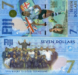 FIJI 7 DOLLAR BILL, 2016 RUGBY SEVENS OLYMPIC GOLD MEDAL