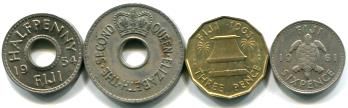 FIJI 4 COIN SET, 1/2 - 6 Pence 1953-1968