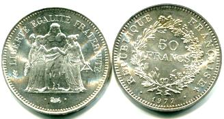 France 50 Francs coin, KM941.1 1974-1979