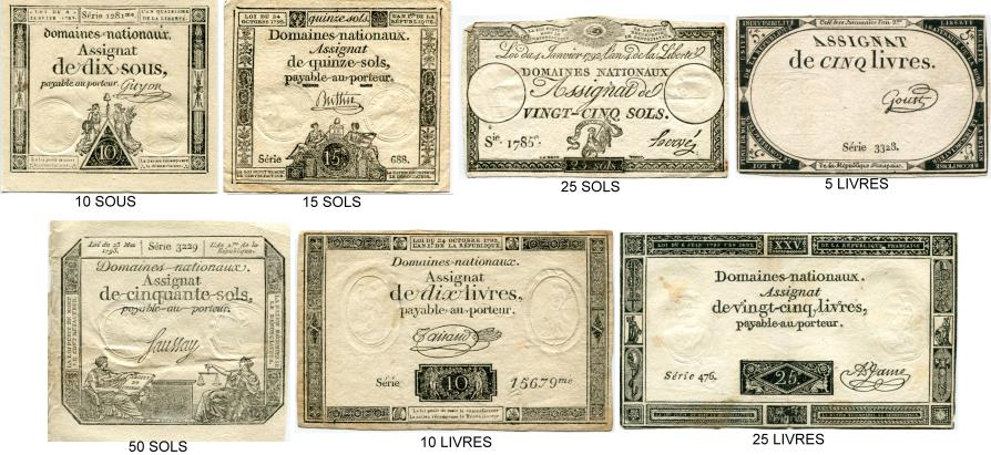 Collection of 7 different French Revolutin Assignat notes, 1792-1793