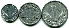 Vichy France 50 Centimes, 1 and 2 Francs