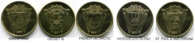 French Territorial coins for Antartica Posessions: Adelie Land, Crozet Island, French Antarctic, Kerguelen Isnand, Amstardam & St. Paul Islands.