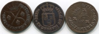 French North America copper 1 Sol coins