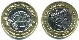 Galapagos Islands 5 Dolares 2008 coin, Br.X8 picturing Galapagos Turtle
